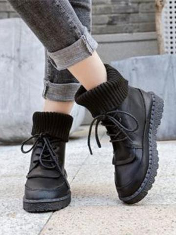 Fashion female students knit stitching flat ankle boots
