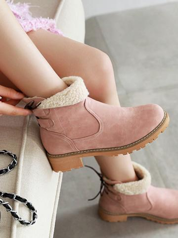 Fashion ladies pure color back lace-up round-toed snow boots
