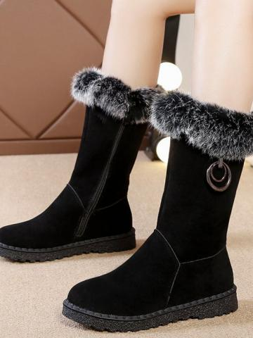 Fashion ladies side zipper flat suede mid boots