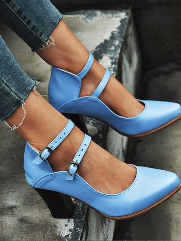 Fashion pointed thick heel frosted shoes
