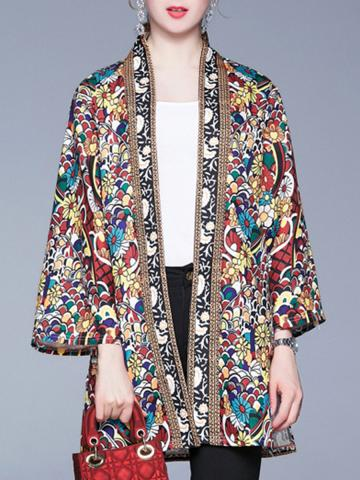 Fashion Print Long Sleeve Coat