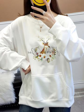 Fashion Print Long Sleeve Sweater