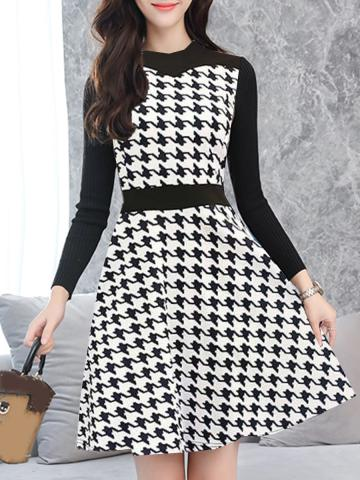 Fashion slim slimming houndstooth long sleeve plus size dress