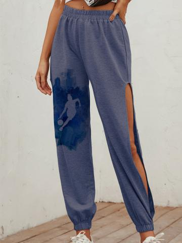 Fashion slit tie-dye printed casual sports pants