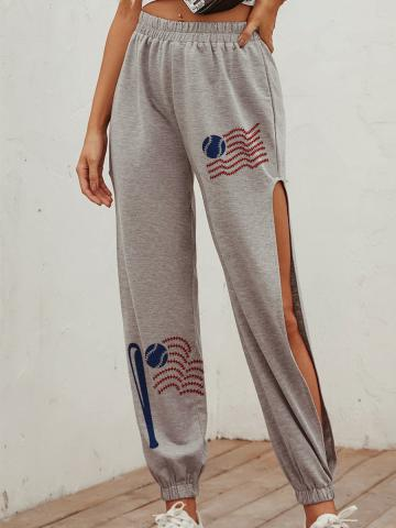 Fashion sports series printed casual trousers