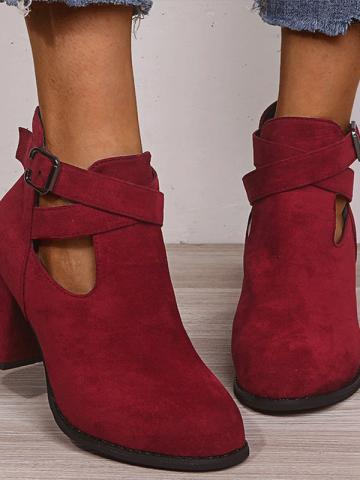 Fashion thick high-heeled suede belt buckle Martin boots