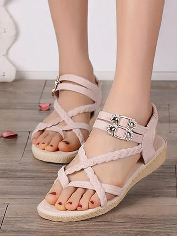 Fashion women's casual flat sandals wild word buckle women's shoes