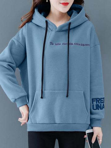 Fashionable hooded printed long sleeve sweatshirt