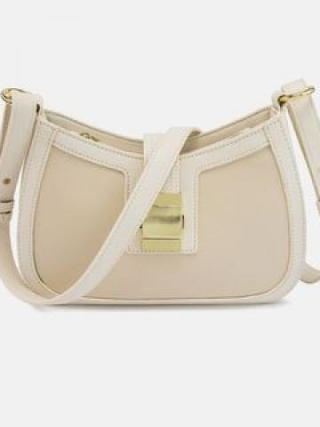 Faux Leather Buckled Hand Bag