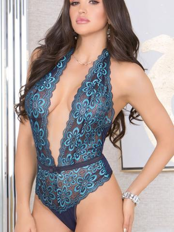 Floral Frenzy Plunging Teddy by iCollection, Blue, Size S - Yandy.com