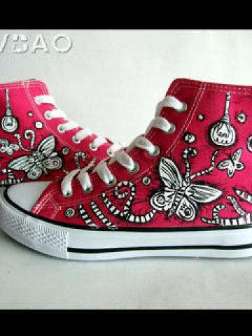 Flying Butterfly High-Top Canvas Sneakers
