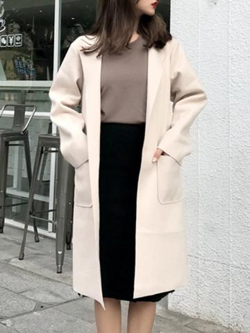 Fold-Over Collar Coat