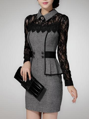 Fold-Over Collar  Patchwork  Lace Bodycon Dress