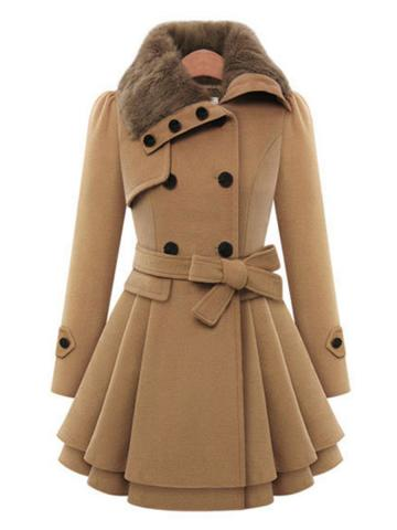 Fold-Over Collar  Plain Coat