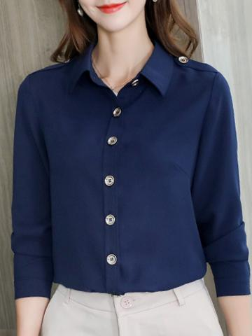 Folding Collar Plain Elegant Long Sleeve Blouse