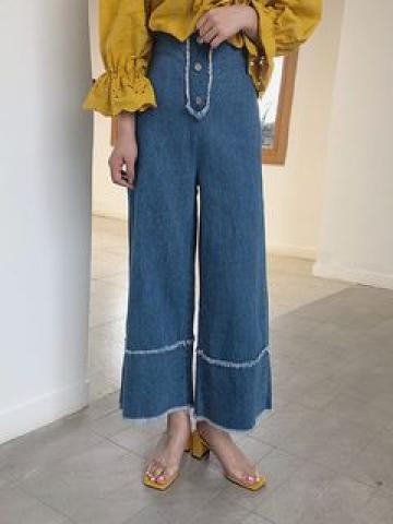Frayed Hem Wide-Leg Jeans