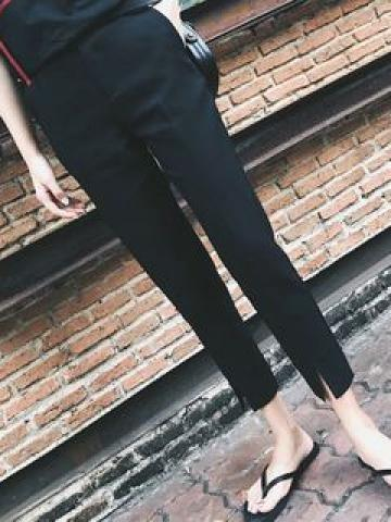 Front-Slit Cropped Straight-Fit Pants