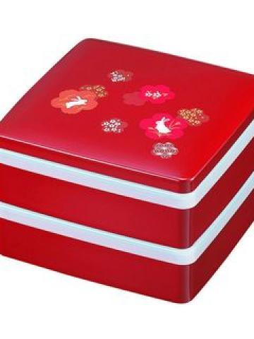 Hakoya 16.5 2 Layers Lunch Box Sakura Usagi Red
