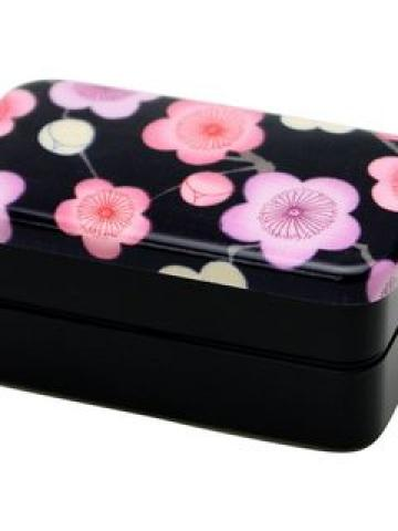 Hakoya Nunobari 2 Layers Lunch Box Black Ume