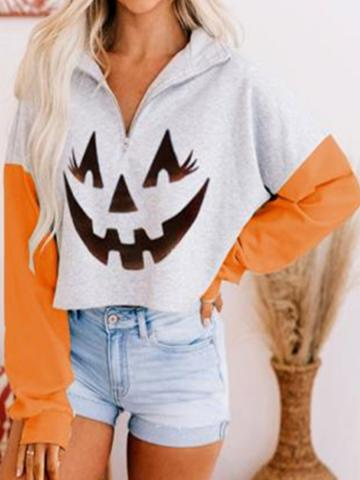 Halloween print crew neck pullover sweater