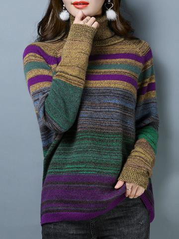 Heap Collar Casual Striped Long Sleeve Knit Pullover