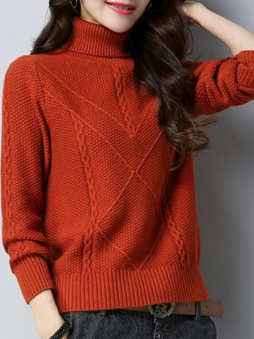 Heap Collar  Patchwork  Elegant  Plain  Long Sleeve Knit Pullover