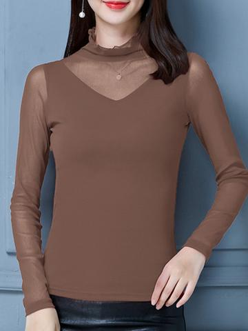 Heap Collar Patchwork Elegant  Plain Long Sleeve T-Shirt