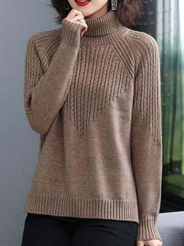 Heap Collar Plain Long Sleeve Knit Pullover