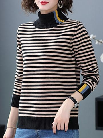 Heap Collar Striped Long Sleeve Knit Pullover