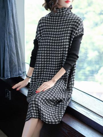 High Neck  Patchwork  Houndstooth Shift Dress
