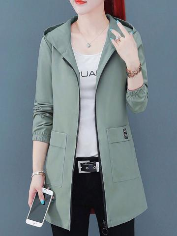 Hooded Long Sleeve Solid Color Trench Coat