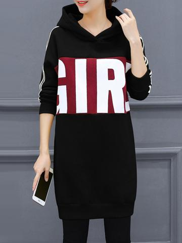 Hooded  Patch Pocket  Letters Shift Dress