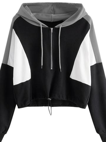 Hot sale short stitching long sleeve zipper hooded sweater