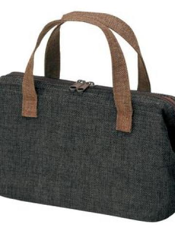 Japanese Style Cotton Linen Lunch Bag (Black)
