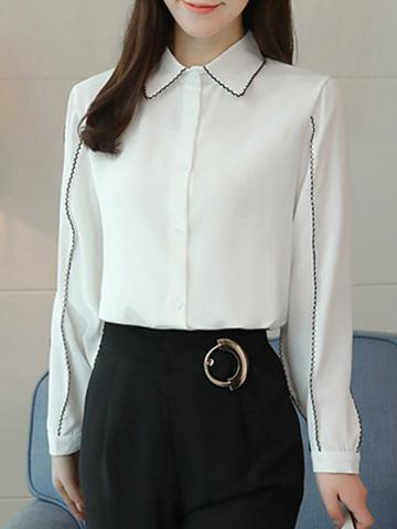 Lapel  Patchwork  Elegant  Plain  Long Sleeve  Blouse