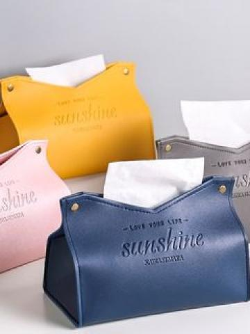 Lettering Leather Tissue Box