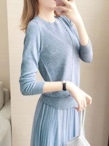Long-Sleeve Button-Detail Knit Top