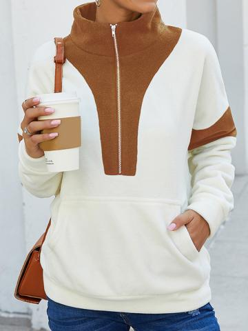 Long sleeve contrast stitching sweater