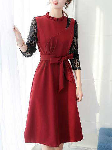 Long Sleeve Dress Lace Waist show thin all-around shift   dress