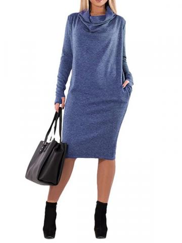 Long Sleeve Mid-Calf Heap Collar Mid Waist Womens Sheath Dress