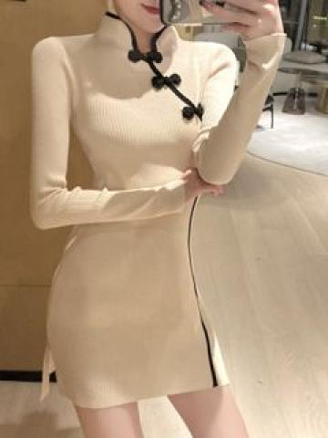 Long-Sleeve Mini Knit Sheath Dress