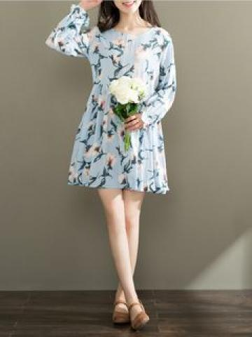 Long-Sleeve Printed Dress