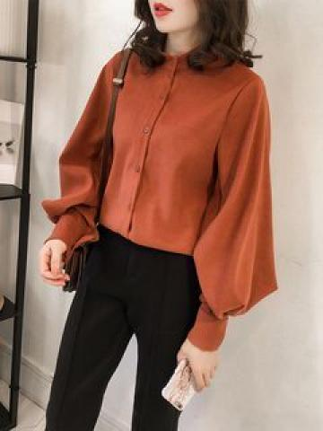 Long-Sleeve Stand-Collar Plain Shirt