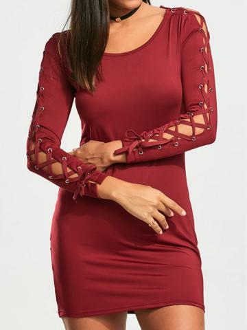 Long Sleeve Wrapped Hip Bandage Sleeve Solid Color Dress