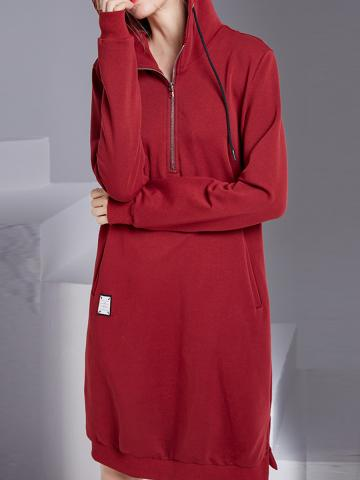 Long Sleeve Zip Hooded Dress