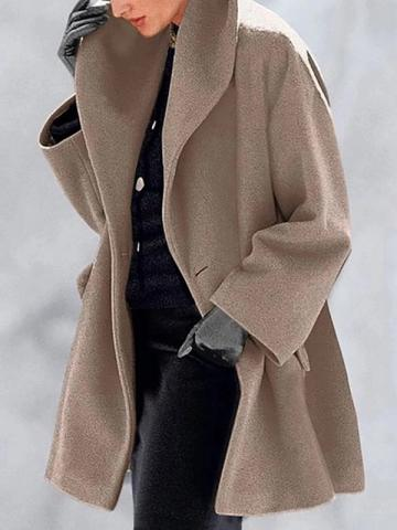 Loose One Button Mid-Length Womens Overcoat
