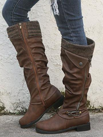 Low-heeled round head boots