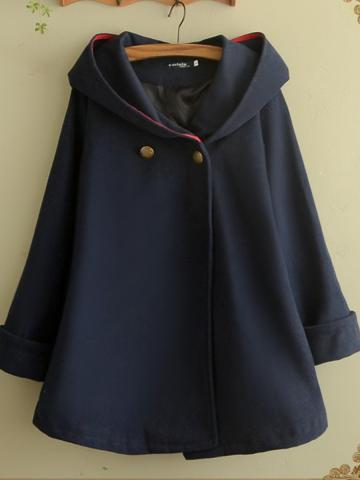 Medium long loose hooded coat
