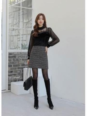 Metallic H-Line Tweed Miniskirt