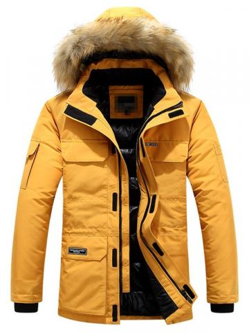Mid-Length Block Patchwork Hooded European Mens Down Jacket